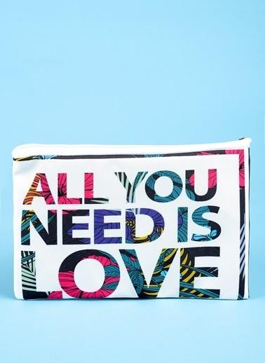 Loves You All You Need Baskılı Wet Bikini Bag Renkli